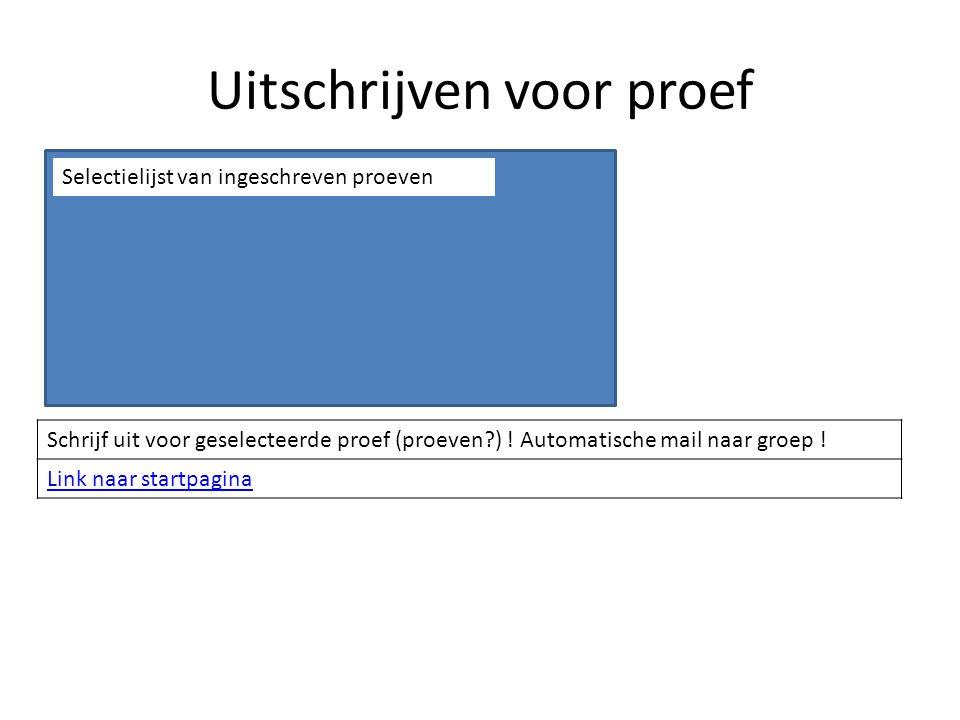 Uitschrijven voor proef Schrijf uit voor geselecteerde proef (proeven ) .