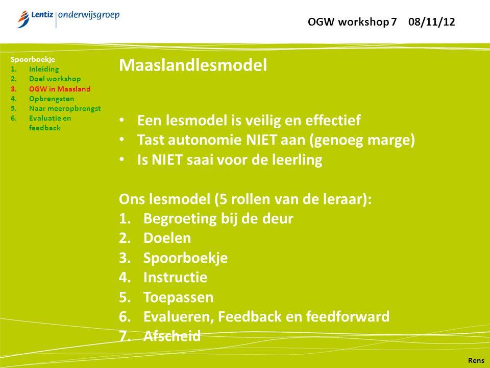 Maaslandlesmodel Rens Spoorboekje 1.Inleiding 2.Doel workshop 3.OGW in Maasland 4.Opbrengsten 5.Naar meeropbrengst 6.Evaluatie en feedback • Een lesmo