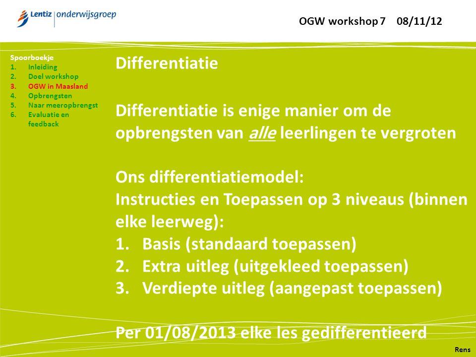 Differentiatie Rens Spoorboekje 1.Inleiding 2.Doel workshop 3.OGW in Maasland 4.Opbrengsten 5.Naar meeropbrengst 6.Evaluatie en feedback Differentiati