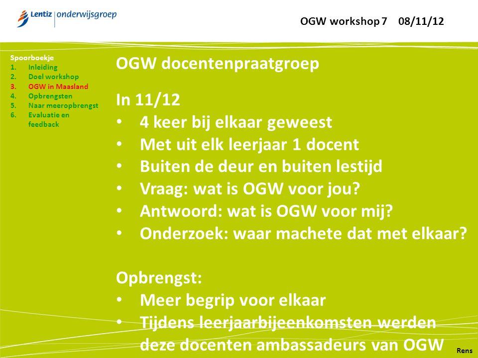 OGW docentenpraatgroep Rens Spoorboekje 1.Inleiding 2.Doel workshop 3.OGW in Maasland 4.Opbrengsten 5.Naar meeropbrengst 6.Evaluatie en feedback In 11