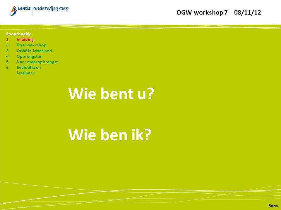 Wie bent u? Wie ben ik? Rens Spoorboekje 1.Inleiding 2.Doel workshop 3.OGW in Maasland 4.Opbrengsten 5.Naar meeropbrengst 6.Evaluatie en feedback OGW