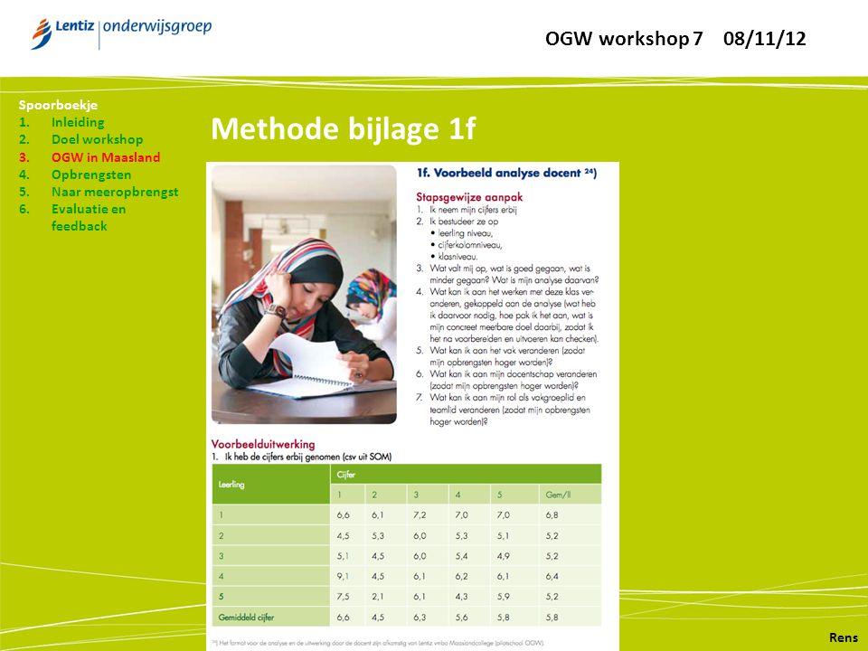 Methode bijlage 1f Rens Spoorboekje 1.Inleiding 2.Doel workshop 3.OGW in Maasland 4.Opbrengsten 5.Naar meeropbrengst 6.Evaluatie en feedback OGW workshop 7 08/11/12