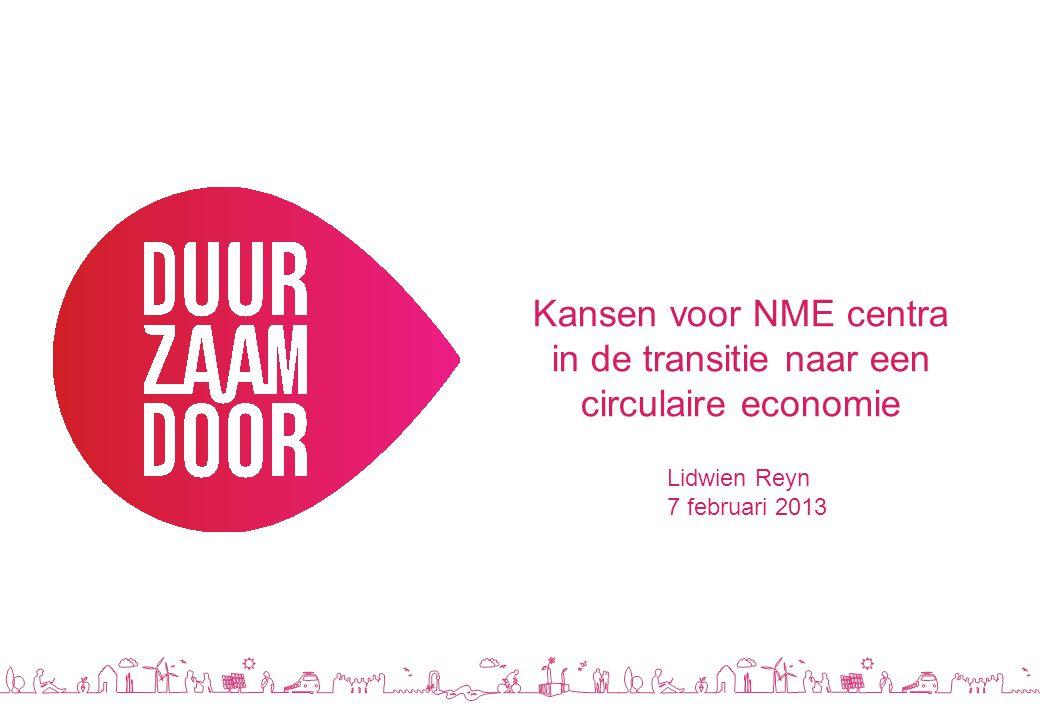 Kansen voor NME centra in de transitie naar een circulaire economie Lidwien Reyn 7 februari 2013