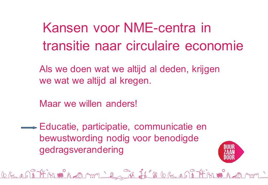 Kansen voor NME-centra in transitie naar circulaire economie Als we doen wat we altijd al deden, krijgen we wat we altijd al kregen.