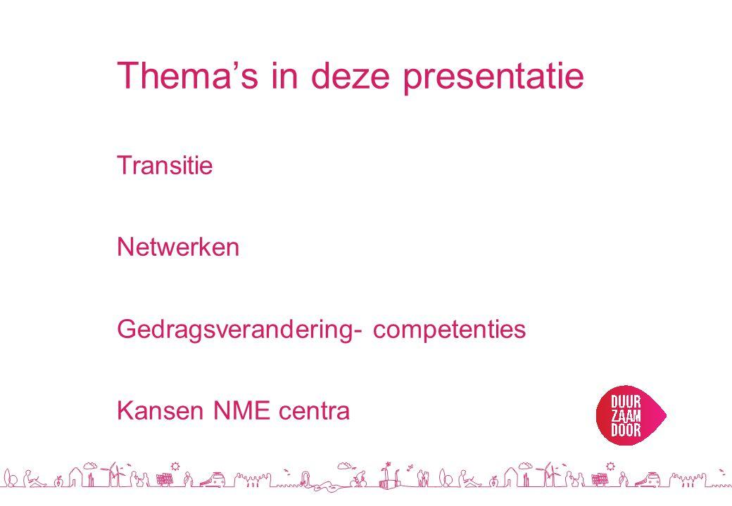 Thema's in deze presentatie Transitie Netwerken Gedragsverandering- competenties Kansen NME centra