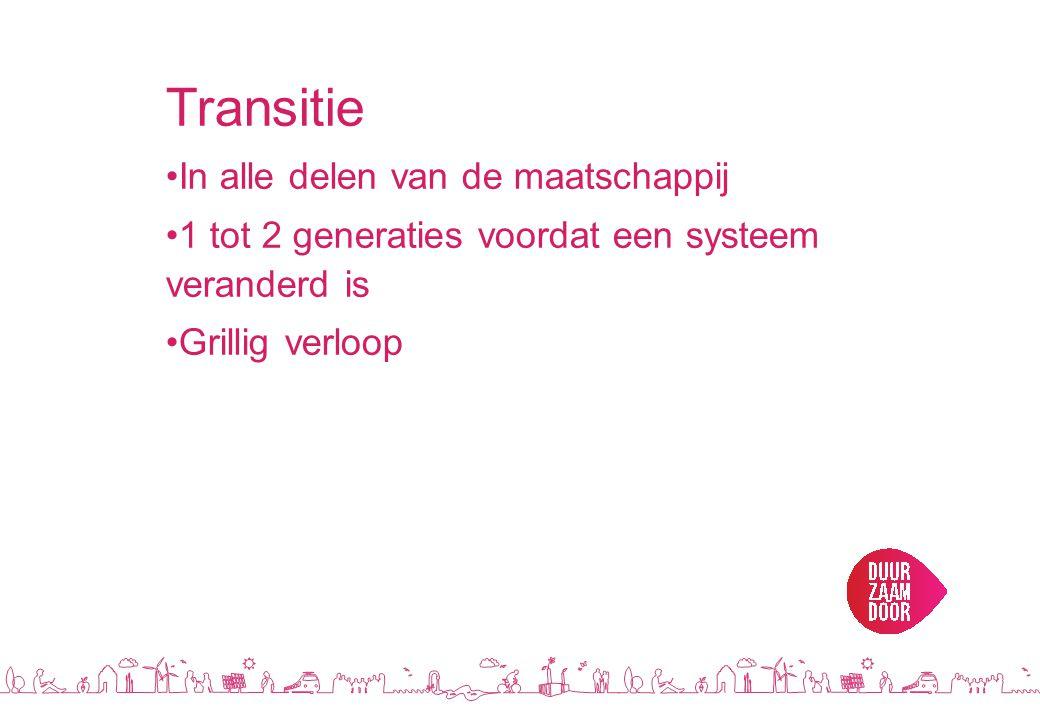Transitie •In alle delen van de maatschappij •1 tot 2 generaties voordat een systeem veranderd is •Grillig verloop