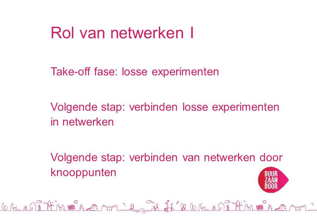 Rol van netwerken I Take-off fase: losse experimenten Volgende stap: verbinden losse experimenten in netwerken Volgende stap: verbinden van netwerken door knooppunten