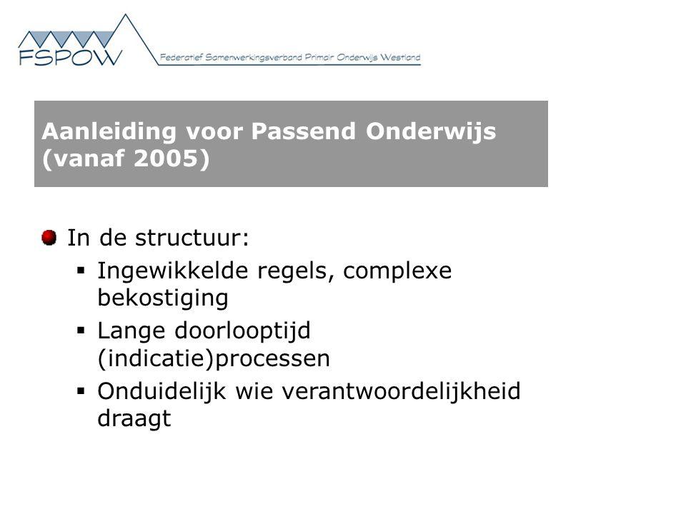 Aanleiding voor Passend Onderwijs (vanaf 2005) In de structuur:  Ingewikkelde regels, complexe bekostiging  Lange doorlooptijd (indicatie)processen