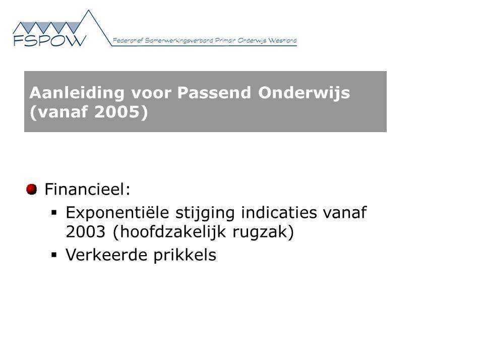 Aanleiding voor Passend Onderwijs (vanaf 2005) Financieel:  Exponentiële stijging indicaties vanaf 2003 (hoofdzakelijk rugzak)  Verkeerde prikkels