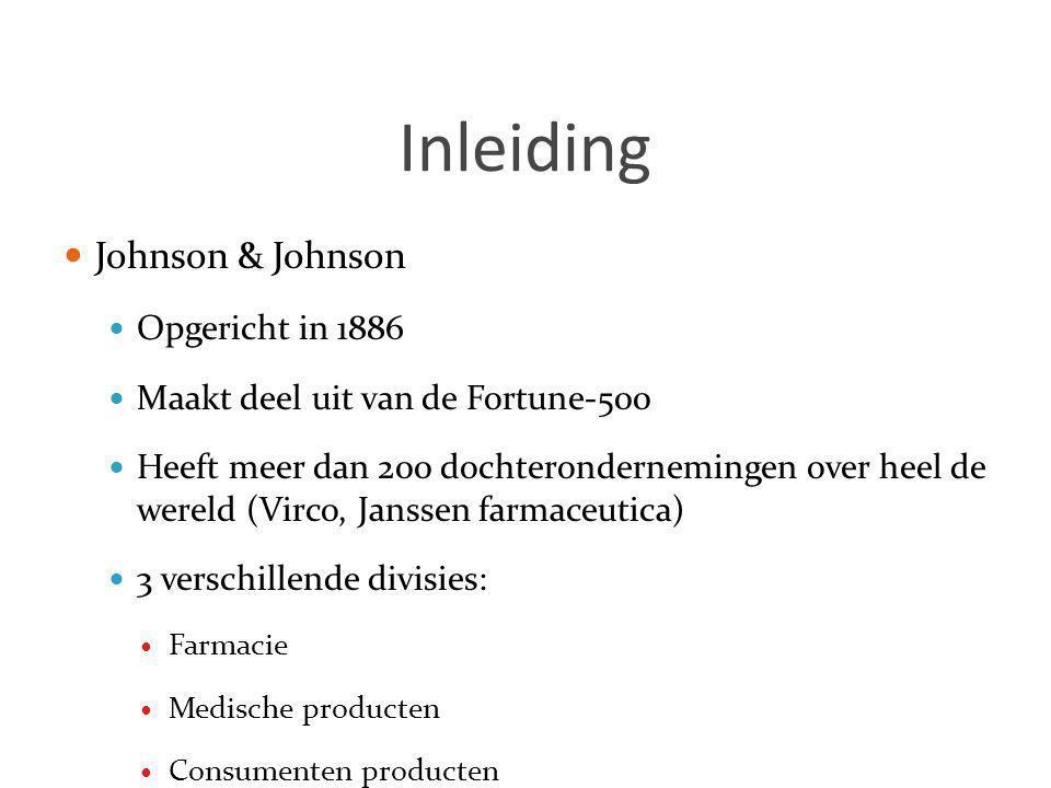 Inleiding  Johnson & Johnson  Opgericht in 1886  Maakt deel uit van de Fortune-500  Heeft meer dan 200 dochterondernemingen over heel de wereld (V
