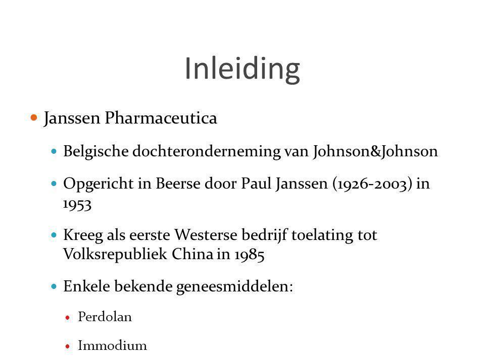 Inleiding  Janssen Pharmaceutica  Belgische dochteronderneming van Johnson&Johnson  Opgericht in Beerse door Paul Janssen (1926-2003) in 1953  Kre