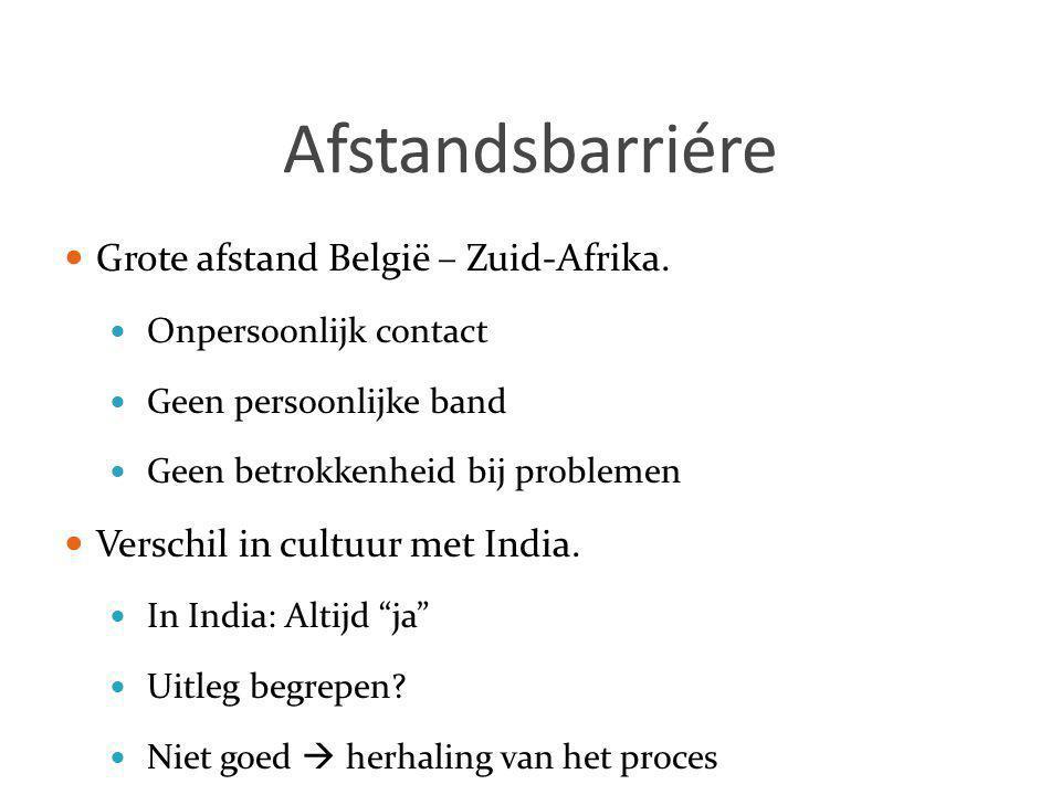 Afstandsbarriére  Grote afstand België – Zuid-Afrika.  Onpersoonlijk contact  Geen persoonlijke band  Geen betrokkenheid bij problemen  Verschil