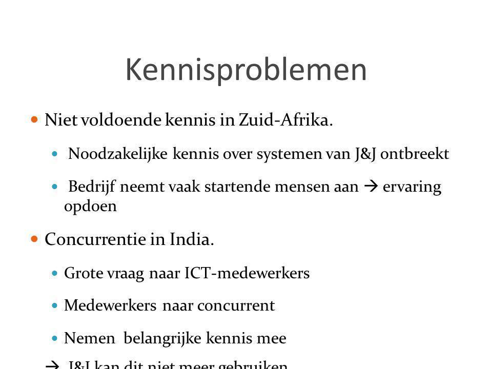 Kennisproblemen  Niet voldoende kennis in Zuid-Afrika.  Noodzakelijke kennis over systemen van J&J ontbreekt  Bedrijf neemt vaak startende mensen a