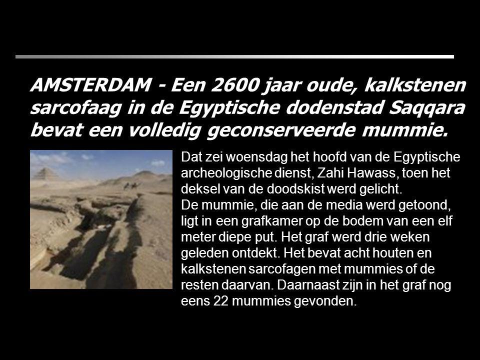 AMSTERDAM - Een 2600 jaar oude, kalkstenen sarcofaag in de Egyptische dodenstad Saqqara bevat een volledig geconserveerde mummie.