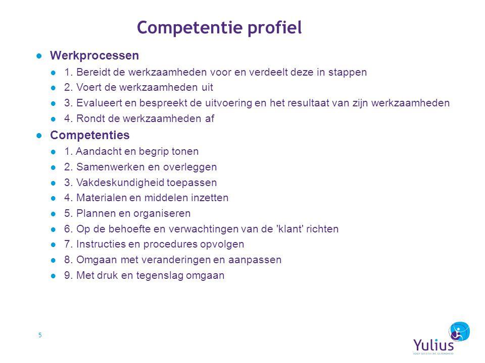 Competentie profiel ● Werkprocessen ● 1. Bereidt de werkzaamheden voor en verdeelt deze in stappen ● 2. Voert de werkzaamheden uit ● 3. Evalueert en b