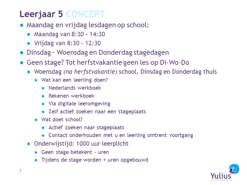 Leerjaar 5 CONCEPT ●Maandag en vrijdag lesdagen op school: ●Maandag van 8:30 – 14:30 ●Vrijdag van 8:30 – 12:30 ●Dinsdag – Woensdag en Donderdag staged