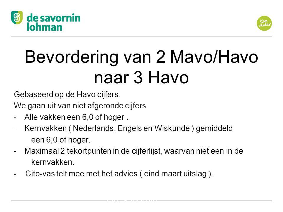 Ov De Savornin Lohman Hilversum Bevordering van 2 Mavo/Havo naar 3 Havo Gebaseerd op de Havo cijfers.