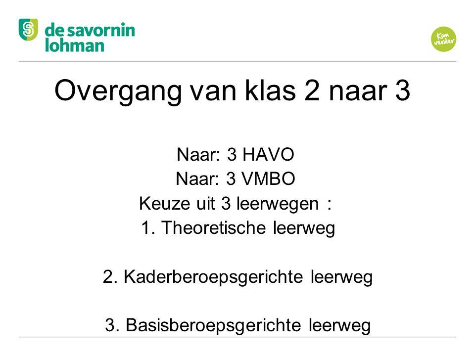 Ov Overgang van klas 2 naar 3 Naar: 3 HAVO Naar: 3 VMBO Keuze uit 3 leerwegen : 1.