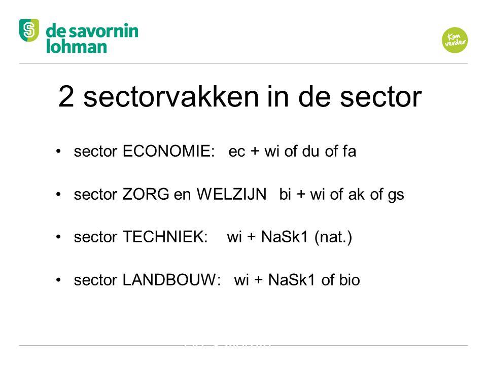 Ov De Savornin Lohman Hilversum 2 sectorvakken in de sector •sector ECONOMIE: ec + wi of du of fa •sector ZORG en WELZIJN bi + wi of ak of gs •sector TECHNIEK: wi + NaSk1 (nat.) •sector LANDBOUW: wi + NaSk1 of bio