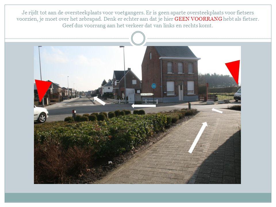 Je rijdt tot aan de oversteekplaats voor voetgangers. Er is geen aparte oversteekplaats voor fietsers voorzien, je moet over het zebrapad. Denk er ech