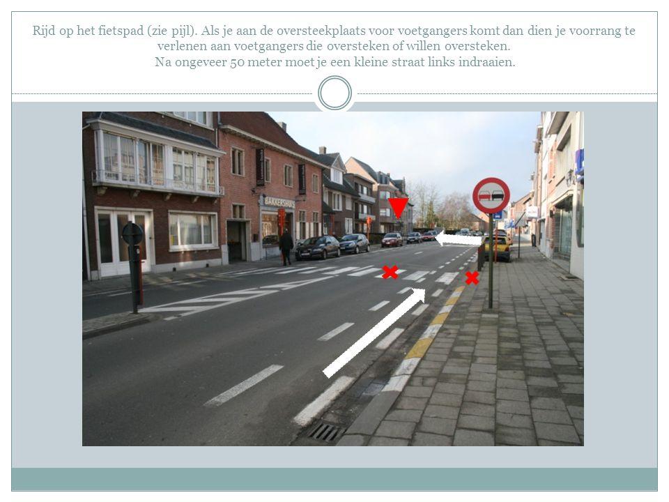 Rijd op het fietspad (zie pijl). Als je aan de oversteekplaats voor voetgangers komt dan dien je voorrang te verlenen aan voetgangers die oversteken o