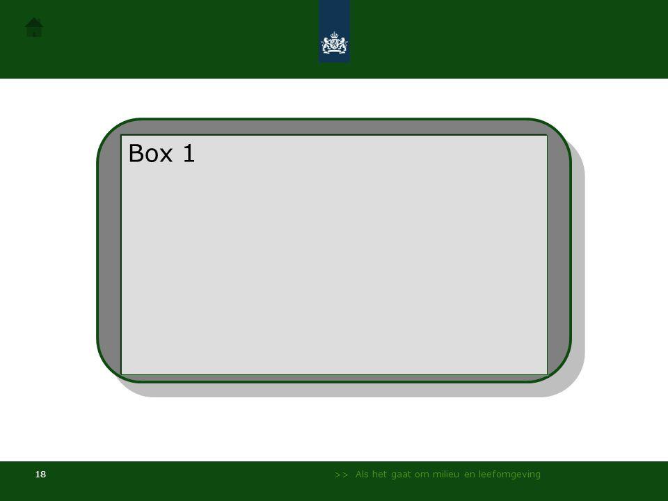 >> Als het gaat om milieu en leefomgeving 17 Box 1Box 2Box 4 Box 3 Box 1