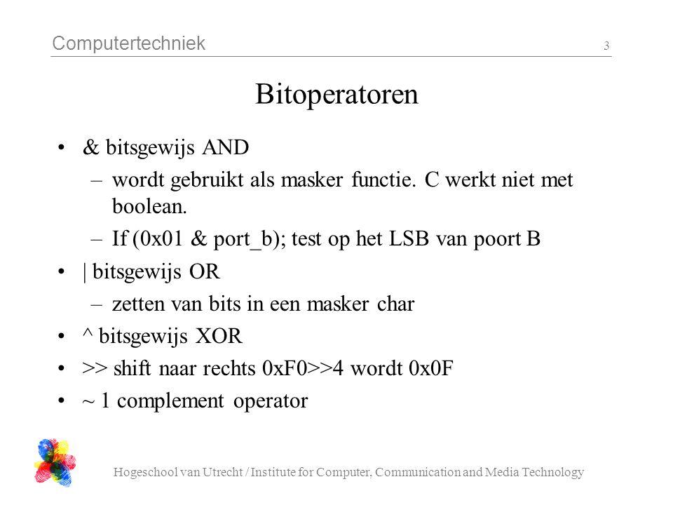 Computertechniek Hogeschool van Utrecht / Institute for Computer, Communication and Media Technology 4 Bitoperatoren •Verwar bit operatoren niet met logische operatoren.