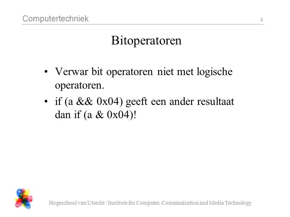 Computertechniek Hogeschool van Utrecht / Institute for Computer, Communication and Media Technology 5 Array declaratie •Een aantal geheugenplekken van het zelfde type •Het aantal ligt (in C) vast bij het compileren •Declaratie: type naam[ aantal ]: float cijfers[ 100 ]; char naam[ 132 ]; int schaakbord[ 8 ][ 8 ]; •Gebruik: naam[ index ]: for( i=0; i<100; i++) cijfers[ i ] = 6.7;