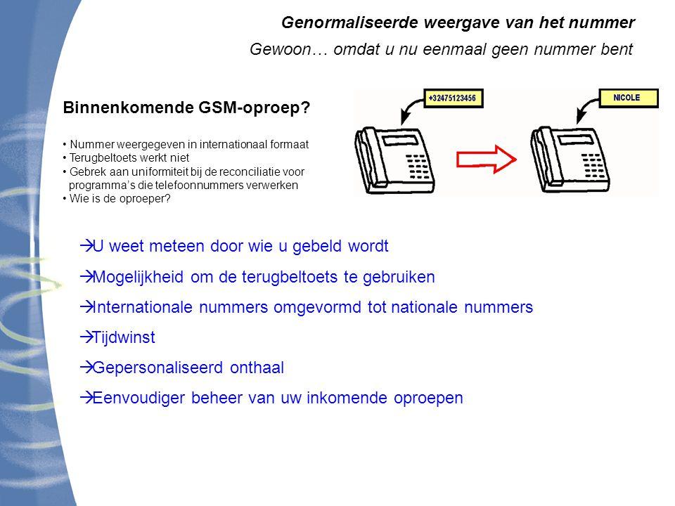 Genormaliseerde weergave van het nummer Gewoon… omdat u nu eenmaal geen nummer bent Binnenkomende GSM-oproep.