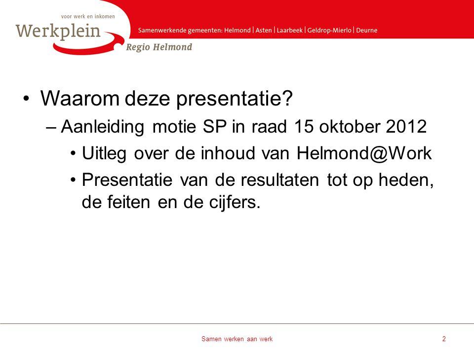 •Waarom deze presentatie? –Aanleiding motie SP in raad 15 oktober 2012 •Uitleg over de inhoud van Helmond@Work •Presentatie van de resultaten tot op h