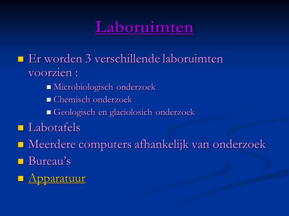 Laboruimten  Er worden 3 verschillende laboruimten voorzien :  Microbiologisch onderzoek  Chemisch onderzoek  Geologisch en glaciolosich onderzoek  Labotafels  Meerdere computers afhankelijk van onderzoek  Bureau's  Apparatuur Apparatuur