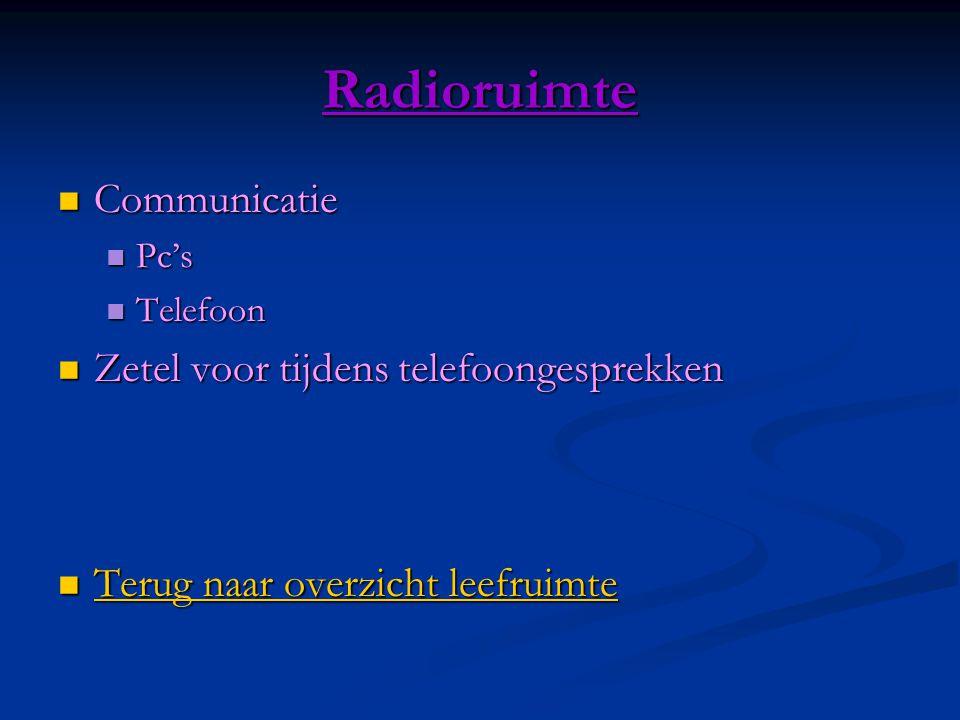 Radioruimte  Communicatie  Pc's  Telefoon  Zetel voor tijdens telefoongesprekken  Terug naar overzicht leefruimte Terug naar overzicht leefruimte Terug naar overzicht leefruimte