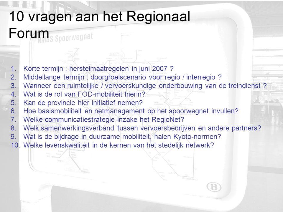 10 vragen aan het Regionaal Forum 1. Korte termijn : herstelmaatregelen in juni 2007 .