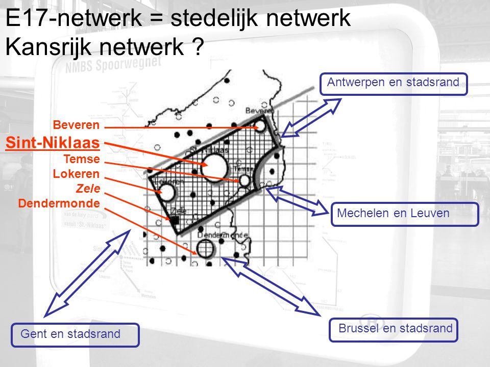 Antwerpen en stadsrand Brussel en stadsrand Gent en stadsrand Beveren Sint-Niklaas Temse Lokeren Zele Dendermonde Mechelen en Leuven E17-netwerk = stedelijk netwerk Kansrijk netwerk