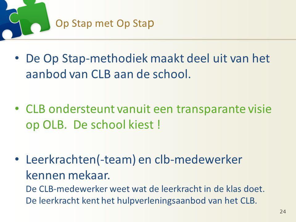 Op Stap met Op Sta p • De Op Stap-methodiek maakt deel uit van het aanbod van CLB aan de school. • CLB ondersteunt vanuit een transparante visie op OL