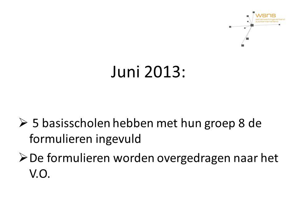 Juni 2013:  5 basisscholen hebben met hun groep 8 de formulieren ingevuld  De formulieren worden overgedragen naar het V.O.