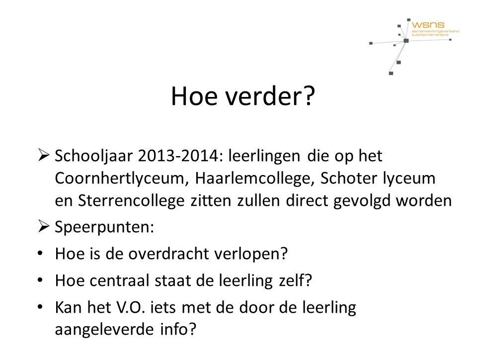 Hoe verder?  Schooljaar 2013-2014: leerlingen die op het Coornhertlyceum, Haarlemcollege, Schoter lyceum en Sterrencollege zitten zullen direct gevol