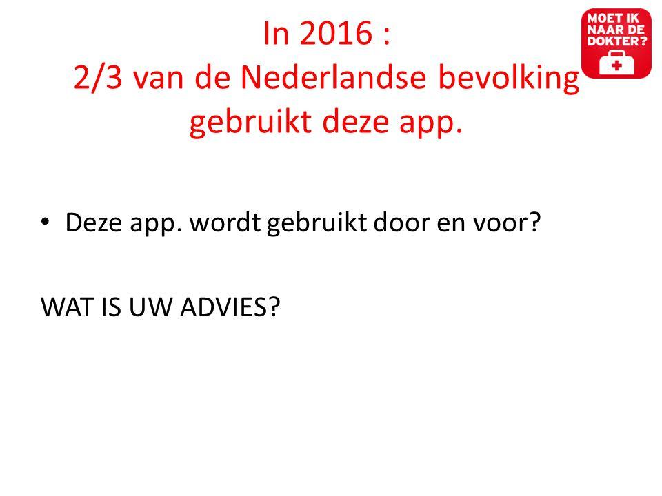 Toekomstschets • De smartphone rukt op • Apps meten nu al hartslag of het slaappatroon • Chip inbrengen die meet hartslag, bloeddruk, enkele bloedwaarde • In 2015 heeft een half miljard mensen gezondheidsapps geïnstalleerd op hun smartphone (Research2guidance) • Nu al 17.000 apps aan op het gebied van gezondheidszorg (300 Nederlandse apps) • Duitse marktonderzoekers voorspellen dat in 2015 de consument gezondheidsapps koopt in het ziekenhuis, bij de dokter of op zorgwebsites • Dokters gaan apps voorschrijven als onderdeel van de behandeling