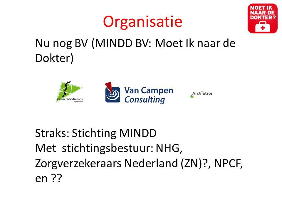 Organisatie Nu nog BV (MINDD BV: Moet Ik naar de Dokter) Straks: Stichting MINDD Met stichtingsbestuur: NHG, Zorgverzekeraars Nederland (ZN)?, NPCF, en ??