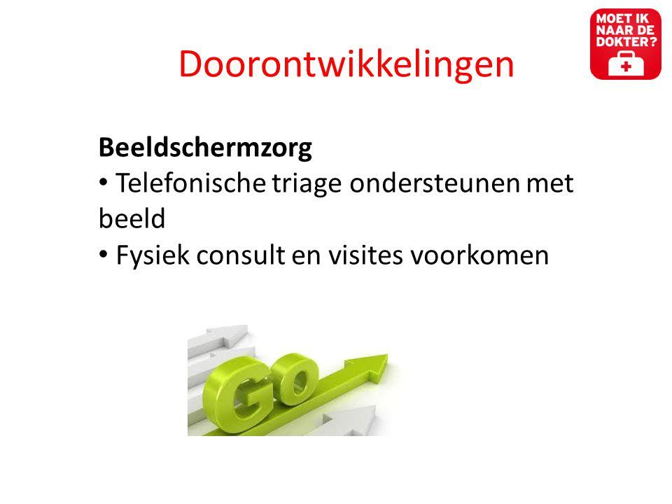 Doorontwikkelingen Beeldschermzorg • Telefonische triage ondersteunen met beeld • Fysiek consult en visites voorkomen
