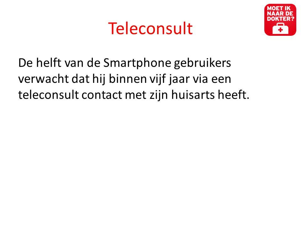 Teleconsult De helft van de Smartphone gebruikers verwacht dat hij binnen vijf jaar via een teleconsult contact met zijn huisarts heeft.