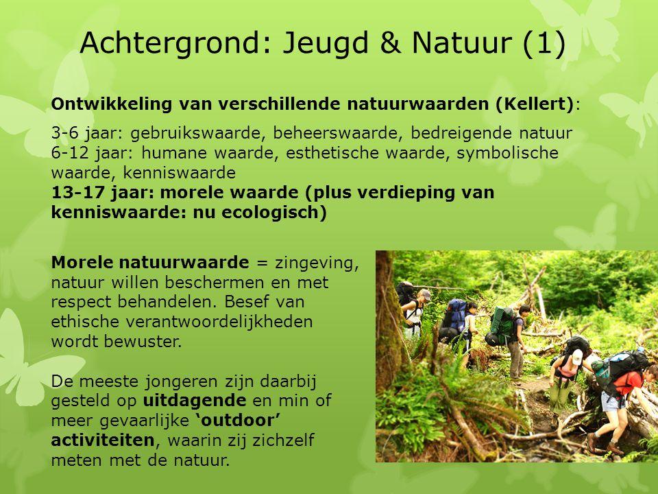 Achtergrond: Jeugd & Natuur (1) Ontwikkeling van verschillende natuurwaarden (Kellert): 3-6 jaar: gebruikswaarde, beheerswaarde, bedreigende natuur 6-12 jaar: humane waarde, esthetische waarde, symbolische waarde, kenniswaarde 13-17 jaar: morele waarde (plus verdieping van kenniswaarde: nu ecologisch) Morele natuurwaarde = zingeving, natuur willen beschermen en met respect behandelen.