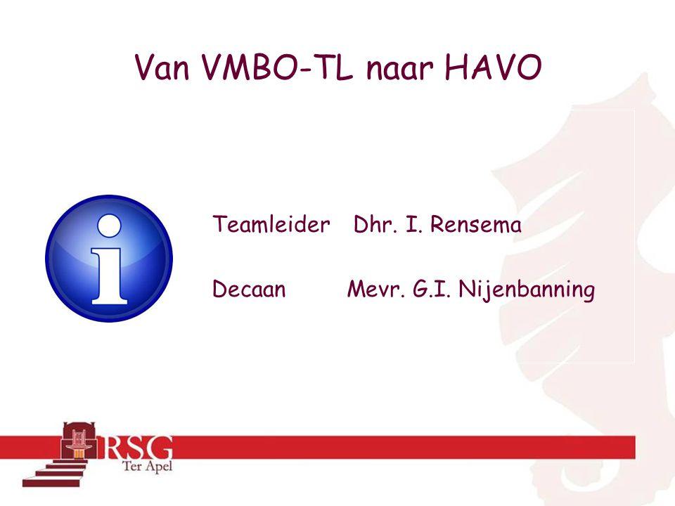 Van VMBO-TL naar HAVO Teamleider Dhr. I. Rensema Decaan Mevr. G.I. Nijenbanning