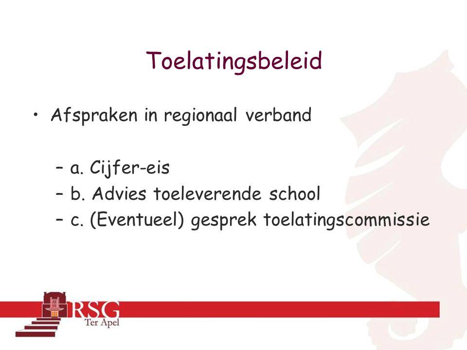 Toelatingsbeleid •Afspraken in regionaal verband –a.
