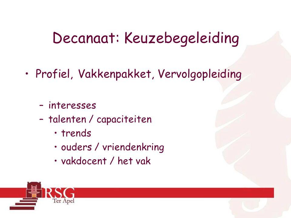 Decanaat: Keuzebegeleiding •Profiel, Vakkenpakket, Vervolgopleiding –interesses –talenten / capaciteiten •trends •ouders / vriendenkring •vakdocent / het vak