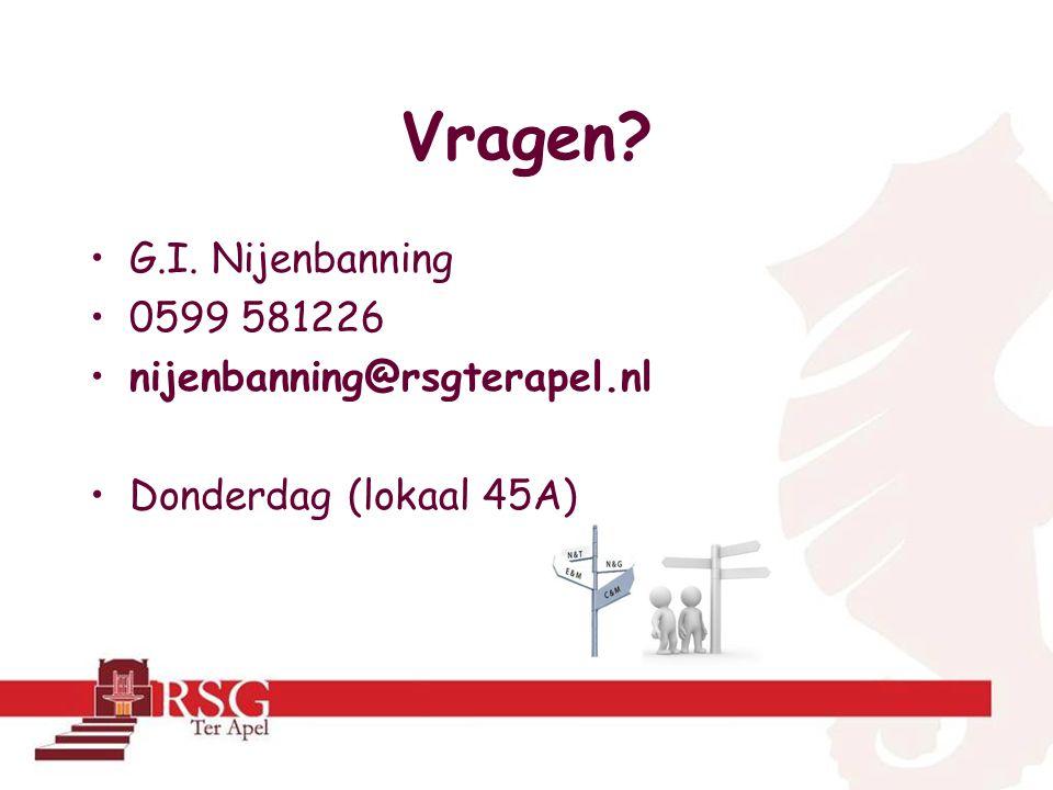 Vragen? •G.I. Nijenbanning •0599 581226 •nijenbanning@rsgterapel.nl •Donderdag (lokaal 45A)