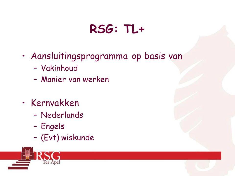 RSG: TL+ •Aansluitingsprogramma op basis van –Vakinhoud –Manier van werken •Kernvakken –Nederlands –Engels –(Evt) wiskunde