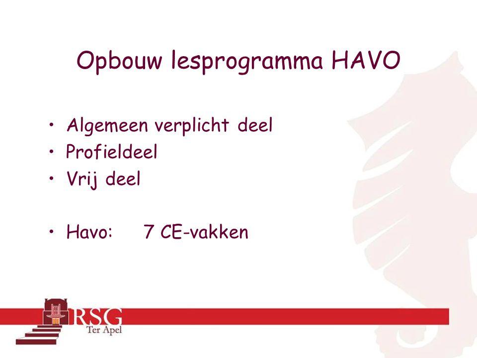 Opbouw lesprogramma HAVO •Algemeen verplicht deel •Profieldeel •Vrij deel •Havo: 7 CE-vakken