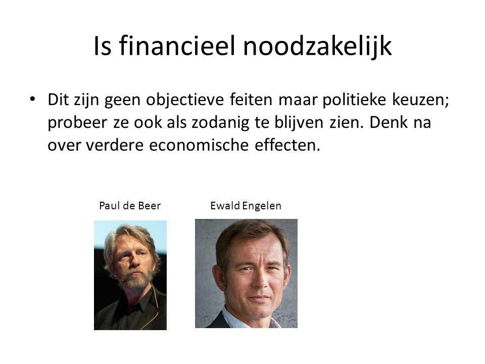 Is financieel noodzakelijk • Dit zijn geen objectieve feiten maar politieke keuzen; probeer ze ook als zodanig te blijven zien. Denk na over verdere e