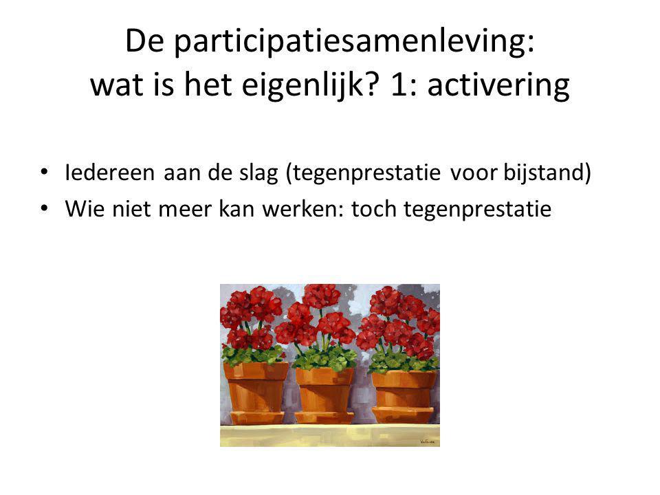 De participatiesamenleving: wat is het eigenlijk? 1: activering • Iedereen aan de slag (tegenprestatie voor bijstand) • Wie niet meer kan werken: toch